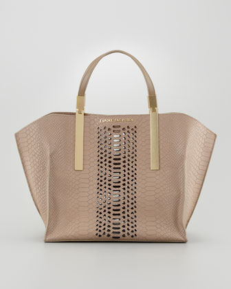 Danes Dry Python-Print Small Shopper Bag, Taupe