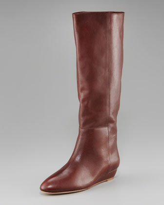 Low-Wedge Knee Boot, Leather