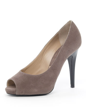 Suede Peep-Toe Pump, Gray