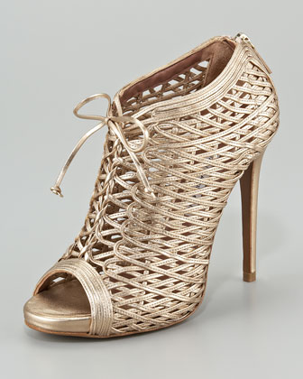 Lace-Up Metallic Lattice Bootie