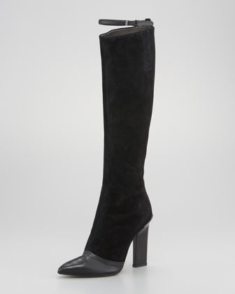 Leather-Suede Thin-Strap Knee Boot