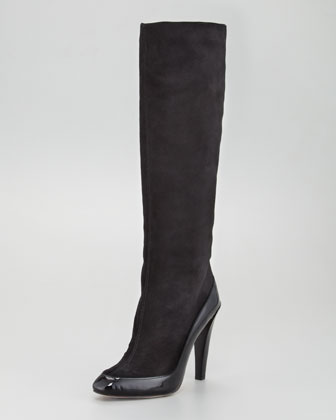 Patent Trimmed Knee Boot