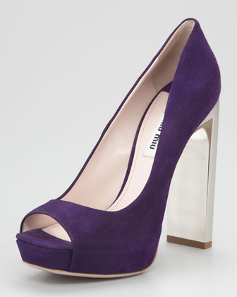 Suede Open-Toe Bejeweled Heel Pump