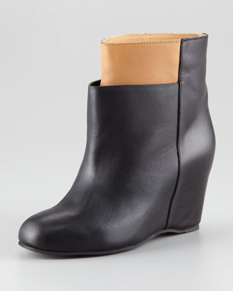Two-Tone Wedge Ankle Boot