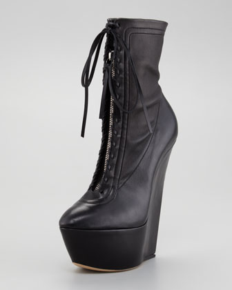 Lace-Up Platform Wedge Bootie