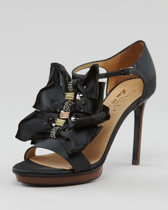 Crystal-Detailed Bow T-Strap Sandal