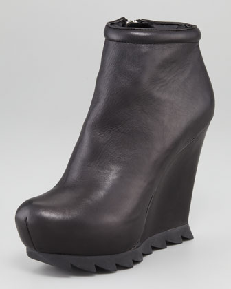 Saw-Sole Wedge Bootie