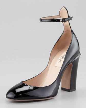 Patent Thick-Heel Ankle-Wrap Pump