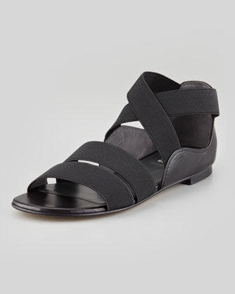 Stretch Strappy Flat Sandal, Black