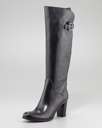 Buckle-Back Knee Boot, Black