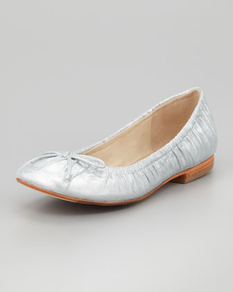 Ruched Leather Ballerina Flat