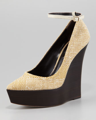 Tweed Wedge Ankle-Wrap Pump