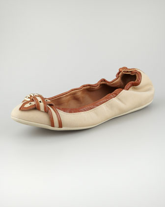 Canvas Leather Ballerina Flat, Honey Tan