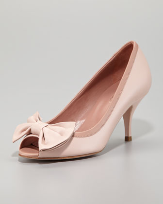 Calfskin Peep-Toe Bow Pump, Light Pink/Cammeo