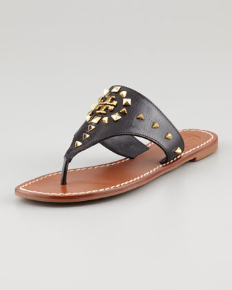 Dale Studded Thong Sandal, Black