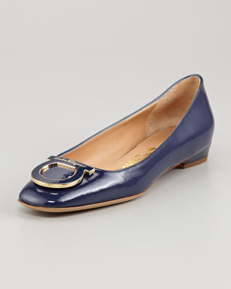 Sanna Gancini Detail Patent Leather Flat