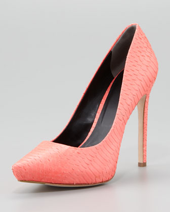 Watersnake Pointed-Toe Pump, Flamingo