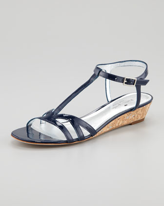 violet cork wedge sandal, navy