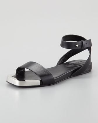 Metal-Toe Flat Sandal, Black