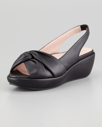 Talise Soft Leather Slingback Wedge, Black