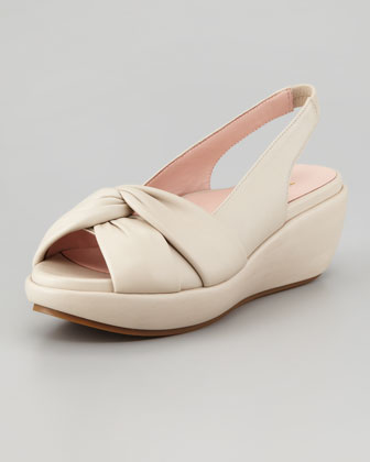 Talise Soft Leather Slingback Wedge, Bone