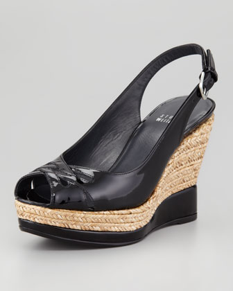 Dolunch Patent Espadrille Wedge Sandal, Black
