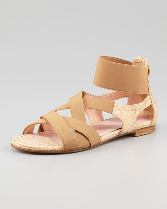 Lasting Elastic Snake-Embossed Flat Sandal, Honey
