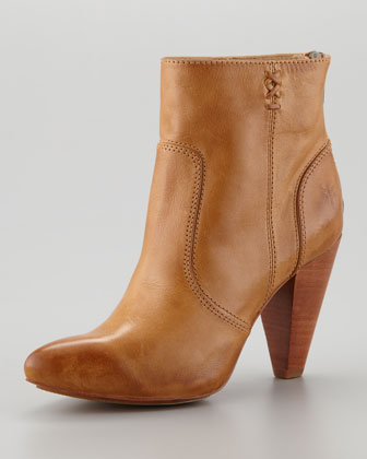 Regina Mid-Heel Leather Boot, Camel