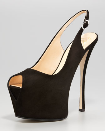 Suede Exaggerated-Platform Slingback, Black