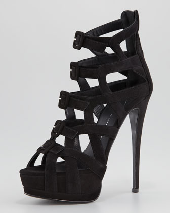 Suede Multi-Buckled Sandal, Black