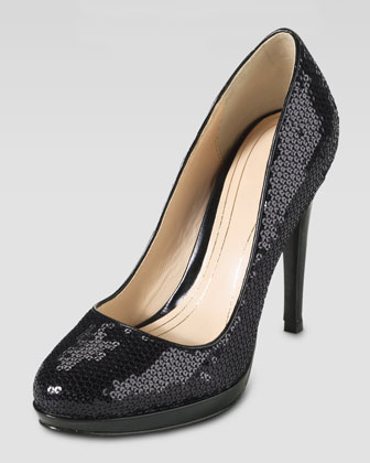 Chelsea High Sequin Pump, Black