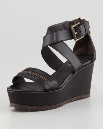 Zipper Wedge Sandal, Black