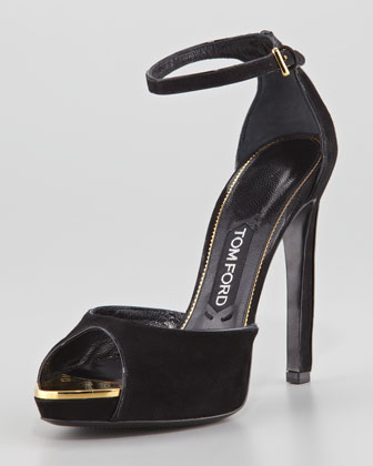 Screw-Studded Suede Peep-Toe Ankle-Wrap Sandal