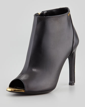 Screw-Studded Leather Open-Toe Bootie