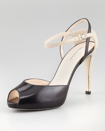 Peep-Toe Ankle-Wrap Pump