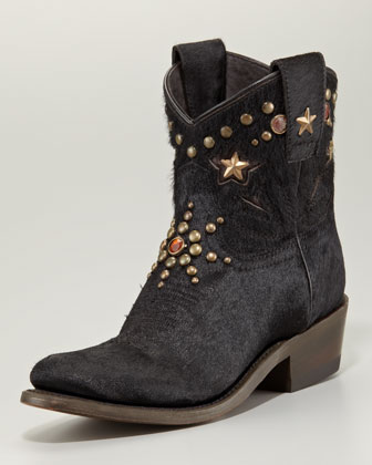 Cox Studded Calf Hair Cowboy Ankle Boot