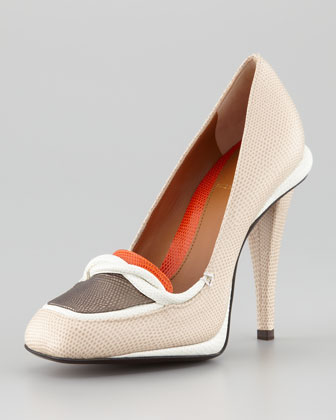 Stingray-Embossed Colorblock Loafer Pump