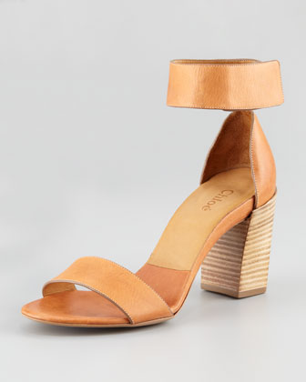 Ankle-Wrap Open-Toe Sandal, Cognac