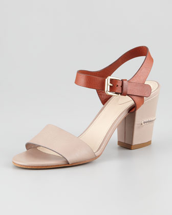 Two-Tone Open-Toe Sandal, Gray