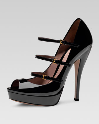 Triple-Strap Platform Mary Jane Pump, Black