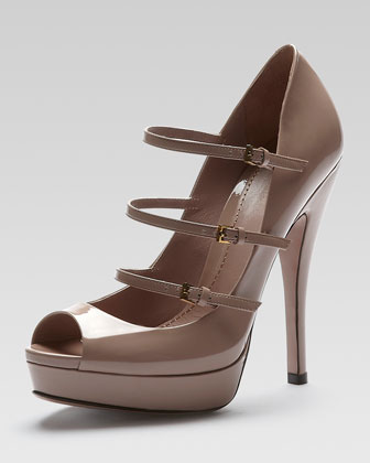 Triple-Strap Platform Mary Jane Pump, Dark Pink