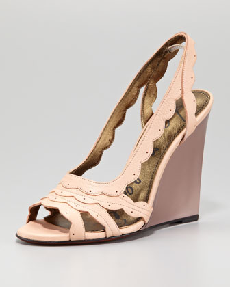 Scalloped Leather Slingback Wedge Sandal, Rose