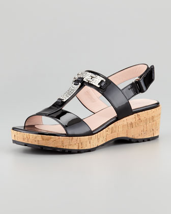 Noel Patent Cork Wedge Sandal
