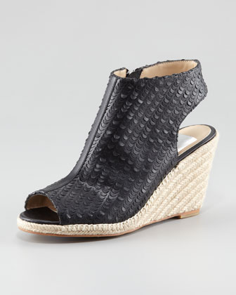 Pavo Perforated Leather Wedge Espadrille