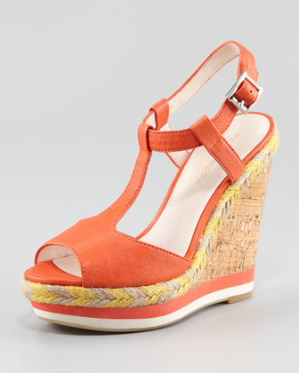 Lambskin Lacquered Cork Wedge Sandal