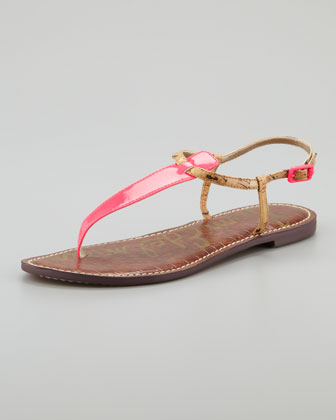 Gigi Patent Thong Sandal, Shocking Pink/Natural