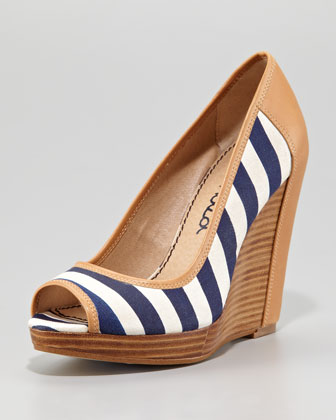 Beverly Striped Wedge Pump