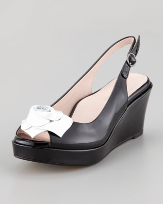 Star Patent Flower Slingback Wedge