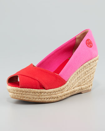 Filipa Colorblock Espadrille, Red/Pink