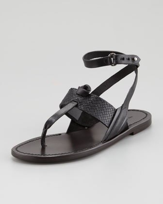 Sigrid Ankle-Wrap Thong Sandal, Black